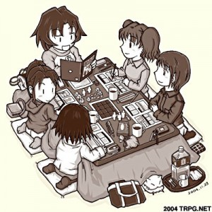 Adorable picture of Japanese kids playing RPGs